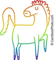 arcobaleno, cavallo, pendenza, disegno, linea, cartone animato, felice
