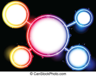 arcobaleno, cerchio, bordo, swirls., scintille