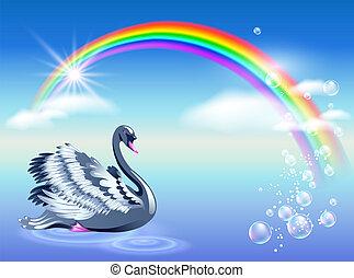 arcobaleno, cigno