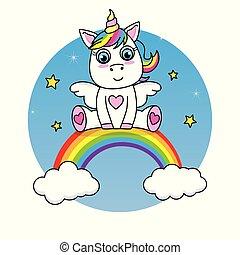 arcobaleno, cima, unicorno, seduta