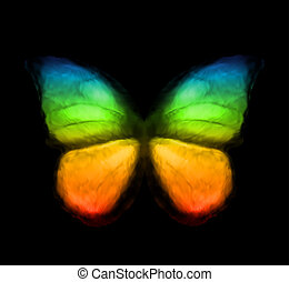 arcobaleno, colorare, butterfly., vettore