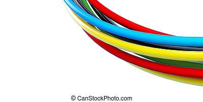 arcobaleno colorato, cavi, sopra