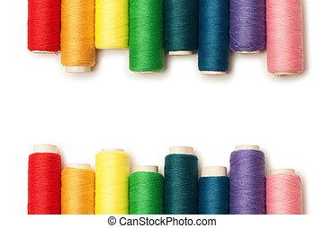 arcobaleno colorato, fili, set, isolato, sopra, sfondo...