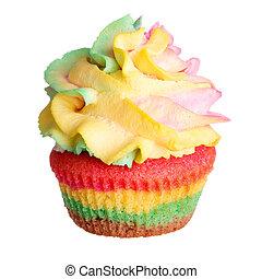 arcobaleno, colorato, focaccina, isolato, fondo, bianco
