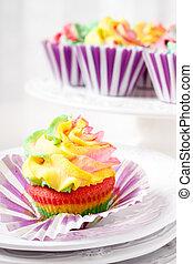 arcobaleno colorato, focaccina, pronto mangiare