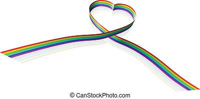 arcobaleno, colorato, forma cuore, nastro