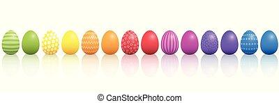 arcobaleno colorato, modello, lin, uova pasqua