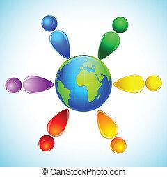 arcobaleno colorato, persone, intorno, globo