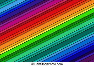arcobaleno, colorito, colorare, crayons., astratto, illustrazione, linee, vettore, fondo, colori, obliquo
