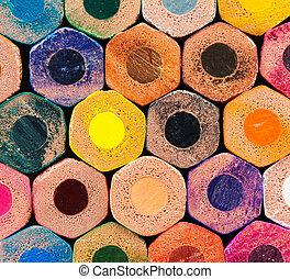 arcobaleno, colorito, fondo, matite
