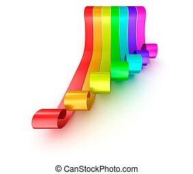 arcobaleno, colorito, nastri, isolato