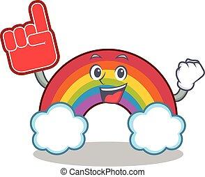 arcobaleno, colorito, schiuma, carattere, dito, cartone animato