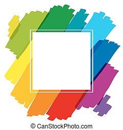 arcobaleno, cornice, quadrato, colorato