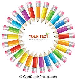 arcobaleno, cornice, vettore, matite