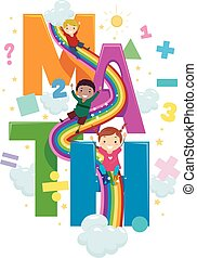 arcobaleno, diapositiva, bambini, stickman, matematica