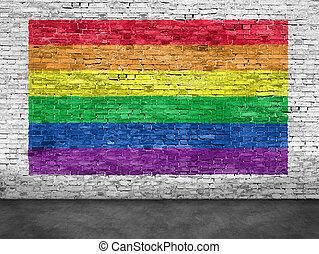 arcobaleno, dipinto, sopra, parete, bandiera, mattone bianco