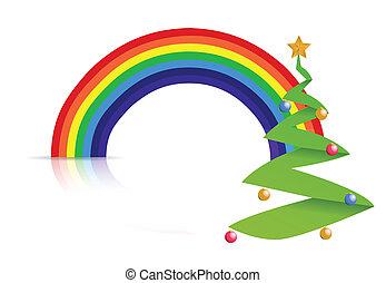 arcobaleno, disegno, illustrazione, albero