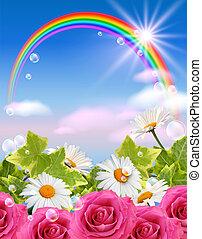 arcobaleno, e, fiori