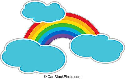arcobaleno, e, nubi