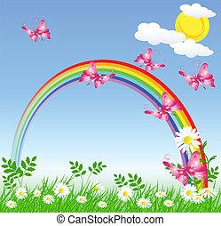 arcobaleno, erba, verde, camomiles