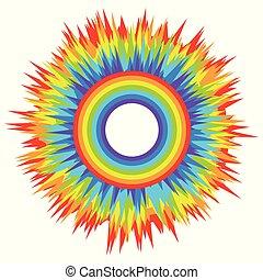 arcobaleno, explosion., colorato, fondo., luce, astratto, isolato, multi-colore, elemento, bambini, vettore, disegno, creativity., vacanza, tuo