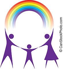 arcobaleno, famiglia, presa a terra, tuo, hands., felice