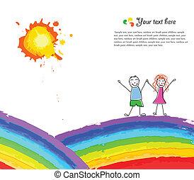 arcobaleno, felice, fondo, colorito, bambino
