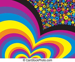 arcobaleno, fiore, fondo