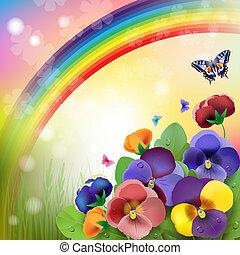 arcobaleno, fondo, floreale