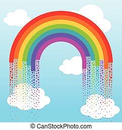 arcobaleno, fondo, stelle
