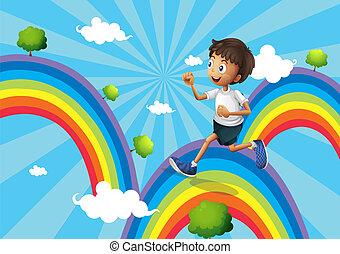 arcobaleno, funzionamento ragazzo, sopra