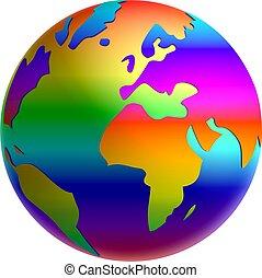 arcobaleno, globo, -, illustrazione, terra pianeta
