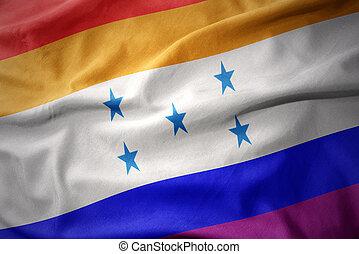 arcobaleno, honduras, gaio, bandierina ondeggiamento, orgoglio, bandiera
