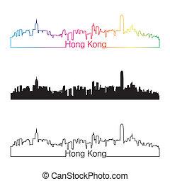 arcobaleno, hong, lineare, stile, kong, orizzonte