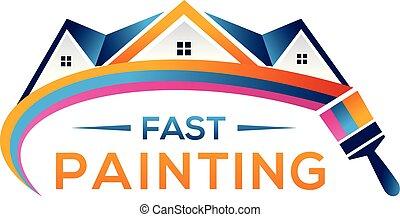 arcobaleno, illustration., colorare, attrezzo, simbolo., segno, vernice, casa, icon., pittura
