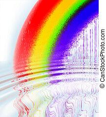 arcobaleno, increspature acqua