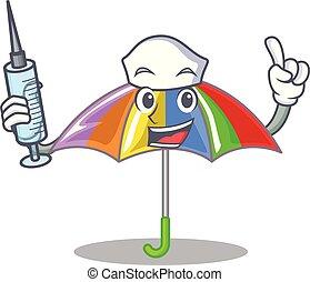 arcobaleno, infermiera, ombrello, isolato, mascotte