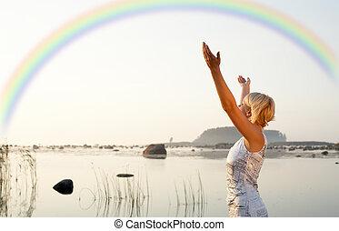 arcobaleno, innalzamento, biondo, carino, mani
