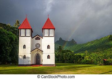 arcobaleno, isola, moorea, chiesa, haapiti, paesaggio