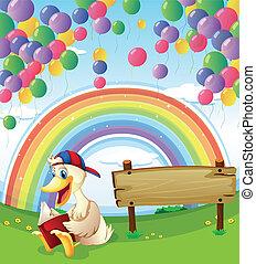 arcobaleno, legno, cielo, illustrazione, accanto, asse, anatra, galleggiante, palloni