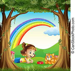 arcobaleno, lei, coccolare, cielo, foresta, ragazza