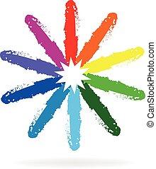 arcobaleno, logotipo, fiore, vernice