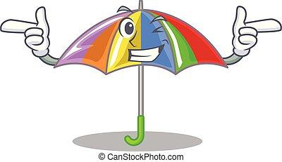 arcobaleno, mascotte, ombrello, isolato, ammicco
