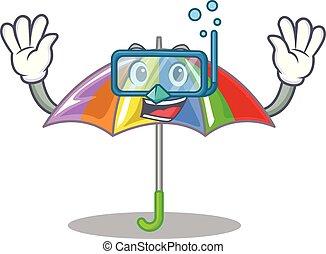 arcobaleno, mascotte, ombrello, isolato, tuffo