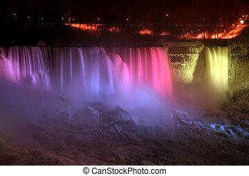 arcobaleno, -, niagara, luce, cadute