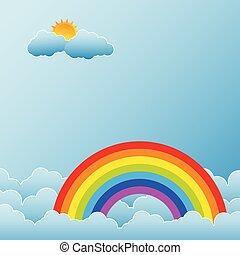 arcobaleno, nubi, sole