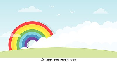 arcobaleno, nuvola, grande