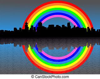 arcobaleno, orizzonte, vancouver
