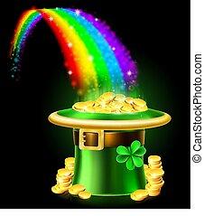 arcobaleno, oro, patricks st, cappello gnomo, giorno