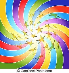 arcobaleno, oro, raggi, astratto, spirale, stars., cornice